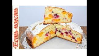 Заливной фруктовый пирог на кефире