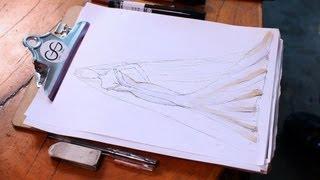 How to Draw a Wedding Dress | Fashion Sketching