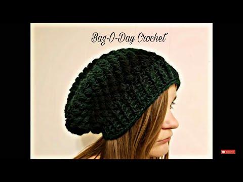 CROCHET How To #Crochet Ladies or Mens Unisex Puffed Slouchy Hat Beanie TUTORIAL #357 LEARN CROCHET