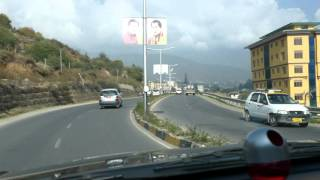 Driving into Thimphu, Bhutan, 2015-11-07