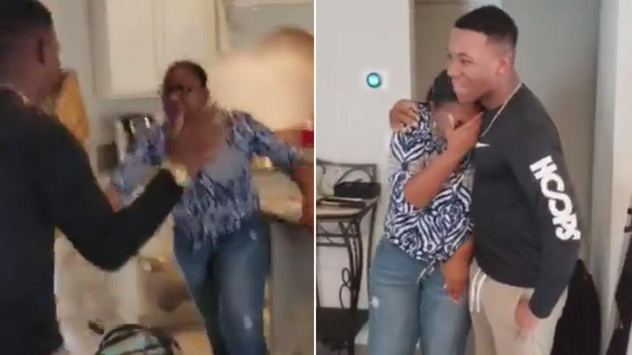 mom freaks out when she sees her marine son for the first time in