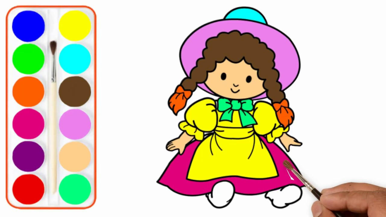 Drawing Coloring Baby Doll Coloring Pages For Kids Drawing For Children Art Colors For Kids Youtube