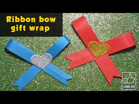 Ribbon bow gift wrap idea || diy paper bow || easy diy ribbon