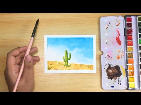 Easy Loose Watercolor Desert Painting for Beginners! • Step-by-step Tutorial