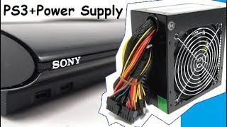 PS3 Super Slim + Power Supply PC ATX How to connect как подключить блок от компа к пс3