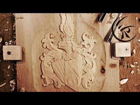 """Woodcarving """"Coat of arms"""" ►► Timelapse"""