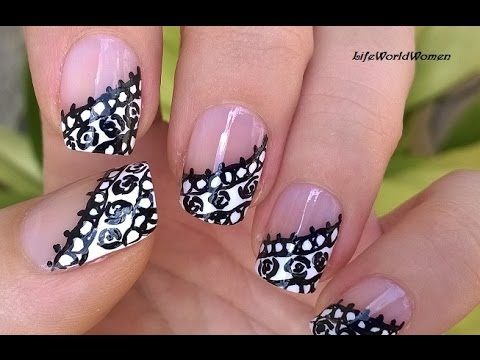 LACE NAILS In Black & White Over Side French Manicure Nail ...