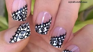 LACE NAILS In Black & White Over Side French Manicure Nail Art Design