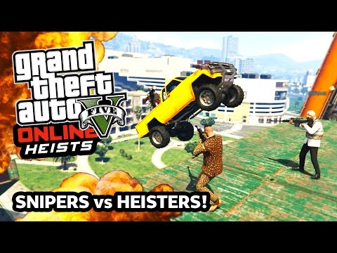 GTA 5 SNIPERS vs HEISTERS! EPIC NEW Snipers vs Heisters Army APC Machine Guns! (GTA 5 Funny Moments)