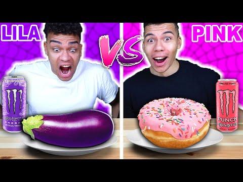 LILA ESSEN VS PINKES ESSEN CHALLENGE !!! | Kelvin und Marvin