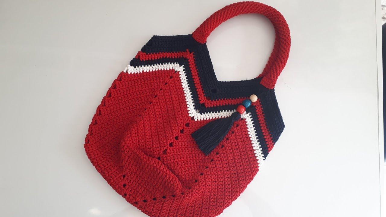 Zigzaglı lale çanta yapımı / fabricação de sacola em zigue-zague/construcción de bolso de tulipán