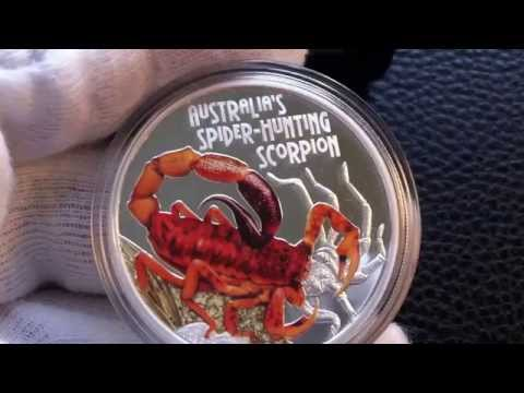 DEADLY AND DANGEROUS -- SPIDER-HUNTING SCORPION 2014 1OZ SILVER PROOF COIN