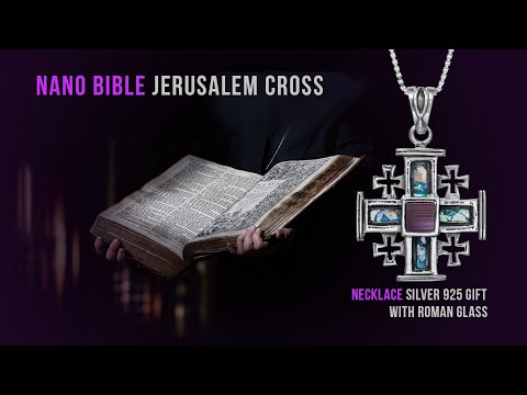 NANO BIBLE JERUSALEM CROSS | PENDANT NECKLACE SILVER 925 WITH ROMAN GLASS