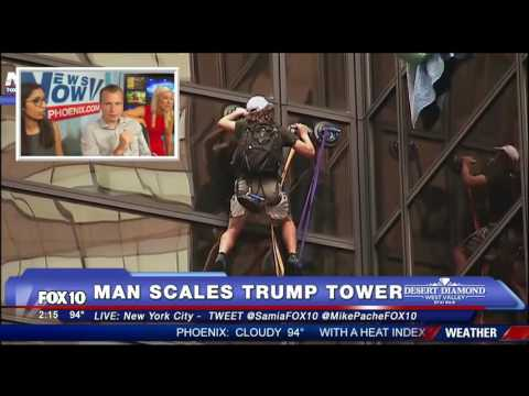 Trump Tower-  Man scaling Trump Tower in New York City-   MUST WATCH