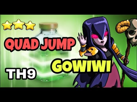 QUAD JUMP GOWIWI : GOLEMS + WITCHES || TH9 SUPER STRONG WAR ATTACK STRATEGY || CLASH OF CLANS 2017