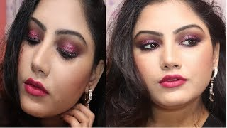 Pink Glitter Eye For Party Makeup Look | Anusha Beauty