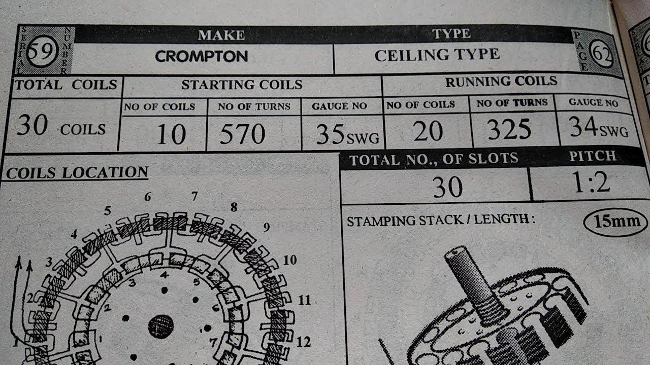 ceiling fan winding data 10 20 30 coils 14 16 30 coils [ 1280 x 720 Pixel ]