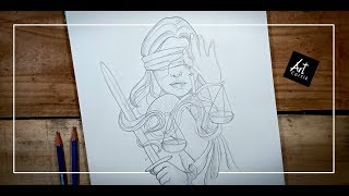 How to Draw Goddess of Justice Step by Step | Drawing Tutorial for Beginners
