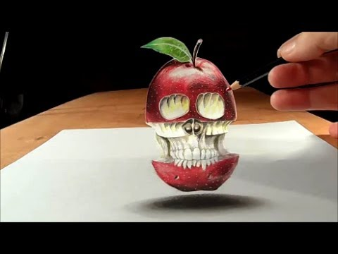 Trick Art Drawing 3D Apple, Skull Illusion on Paper