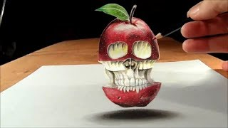 Anamorphic Illusion, Drawing  Levitating 3D Apple Skull, Time Lapse