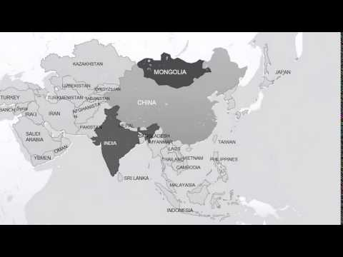 PowerPoint maps Asia with Countries