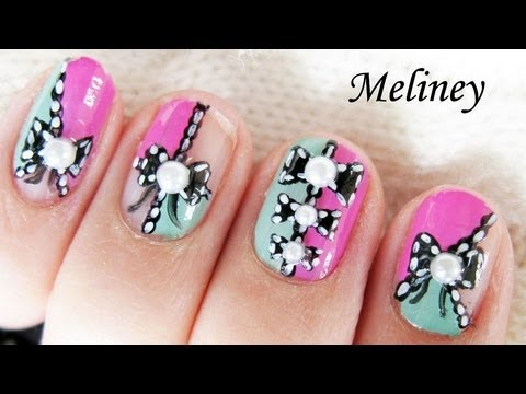 Color Blocking Lace Bow Nails Nail Art Tutorial For Short Nail Design Cute Free Hand Youtube