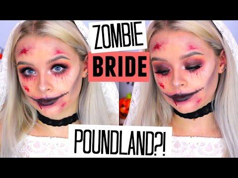 TESTING POUNDLAND MAKEUP- HALLOWEEN STYLE! ZOMBIE BRIDE | sophdoesnails