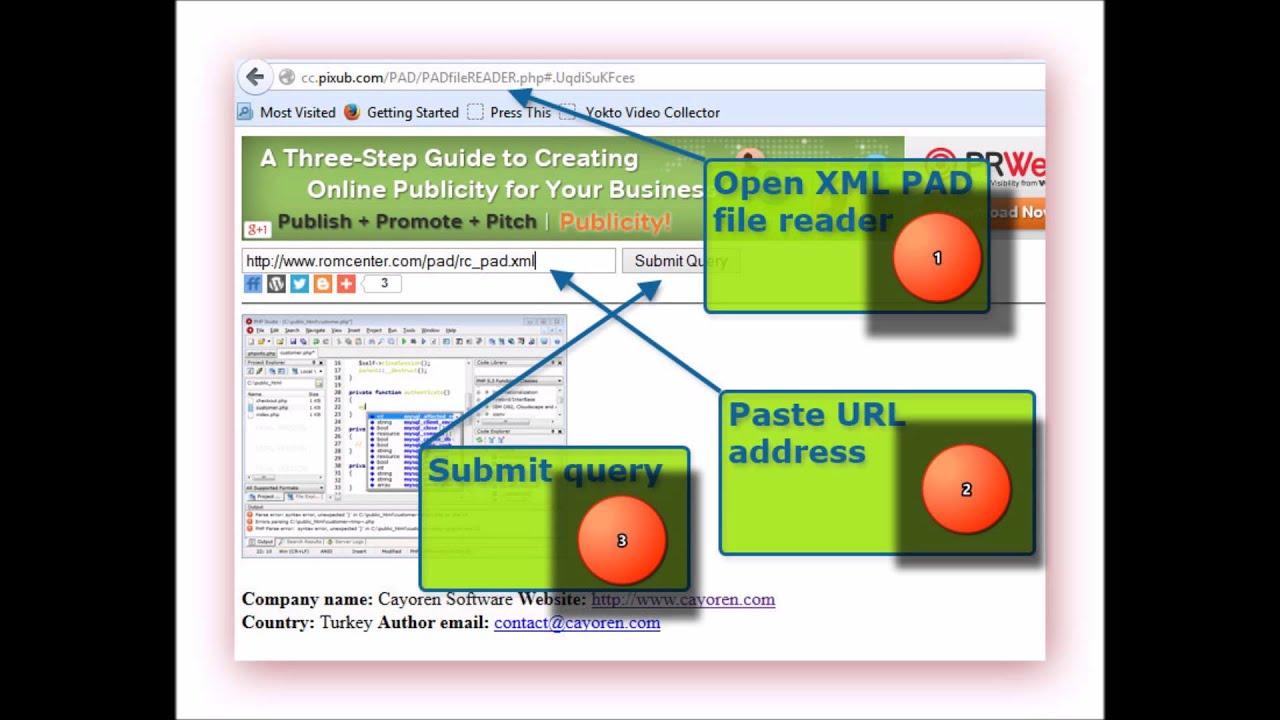 XML PAD file reader