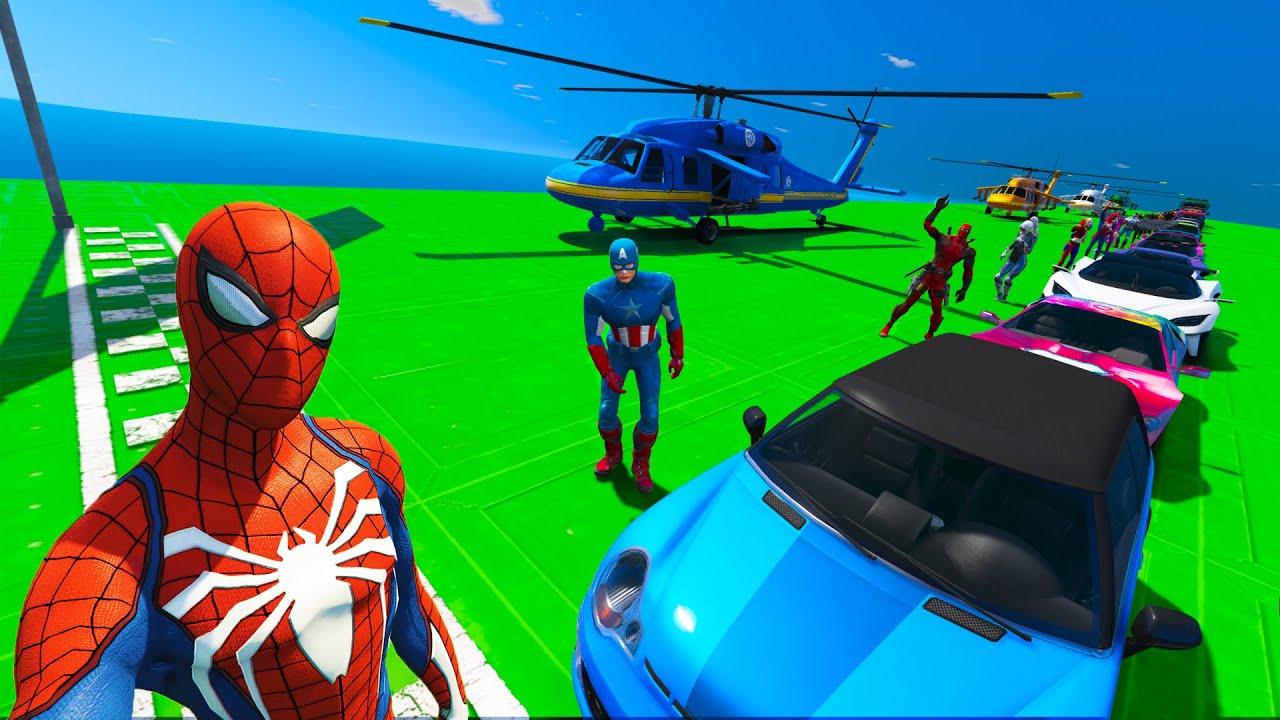 Spiderman Crash Test Сhallenge with Friend Superheroes and Different Cars GTA V