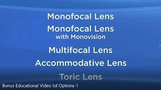 Intraocular lens (IOL) options