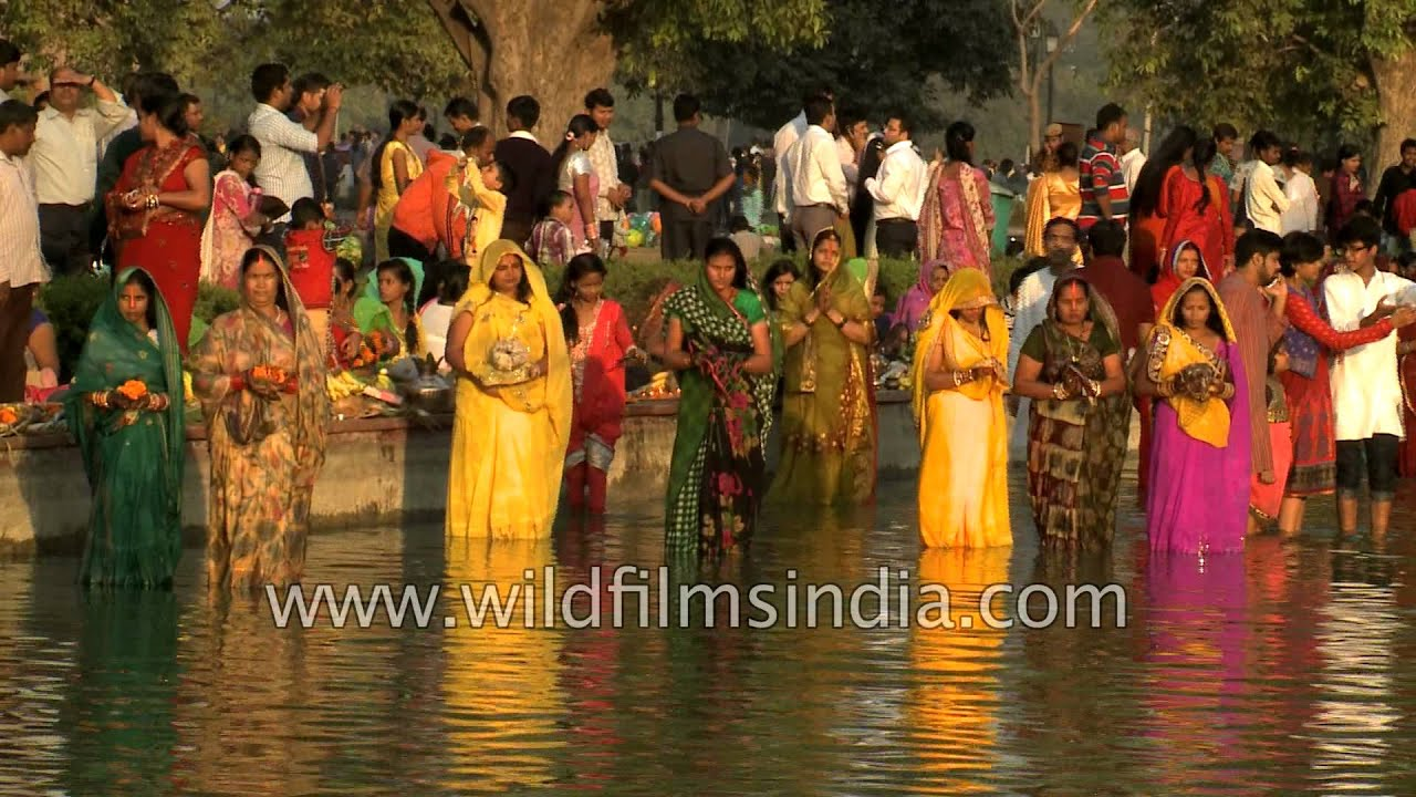 Penance For Religiosity Indian Women Stand In Cold Water Pray To