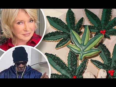 Martha-Stewart-decorates-weed-shaped-Christmas-cookies-with-Snoop-Dogg-for-corporate-event
