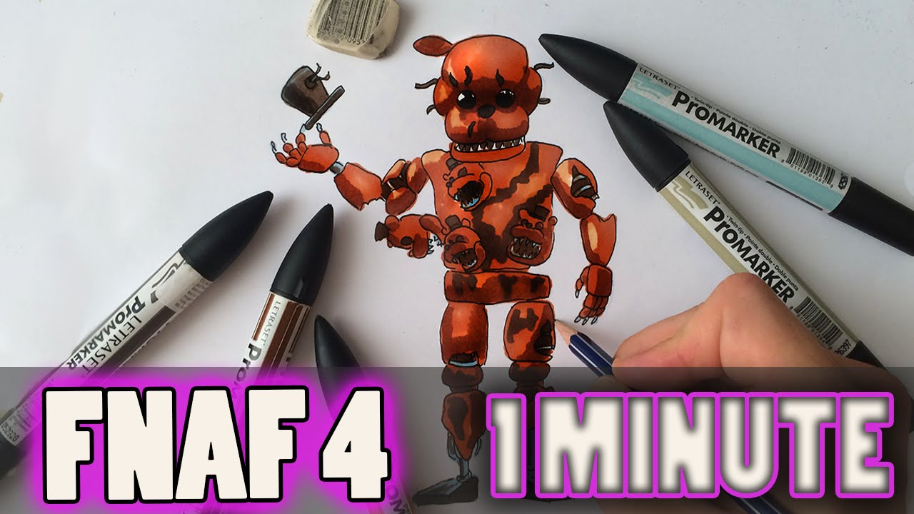 How to draw fnaf freddy steps - How To Draw Nightmare Freddy From Fnaf 4 Step By Step Video Lesson Preview Youtube