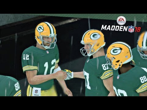 Madden 18 Packers vs Eagles Gameplay Full Game (Rain Game at Lambeau Field)
