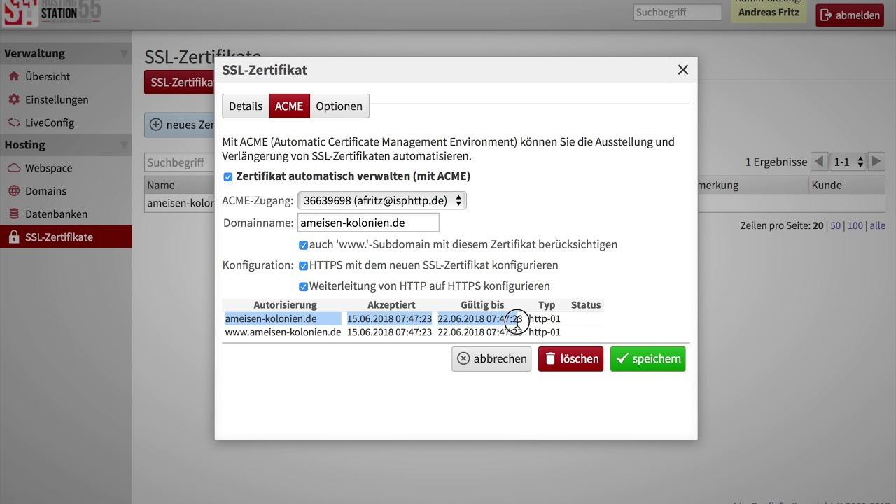 Liveconfig Tutorial Lets Encrypt Zertifikat Ssl Zertifikat