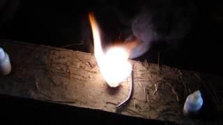 Fuego por reacciones químicas: Permanganato de Potasio y Glicerina