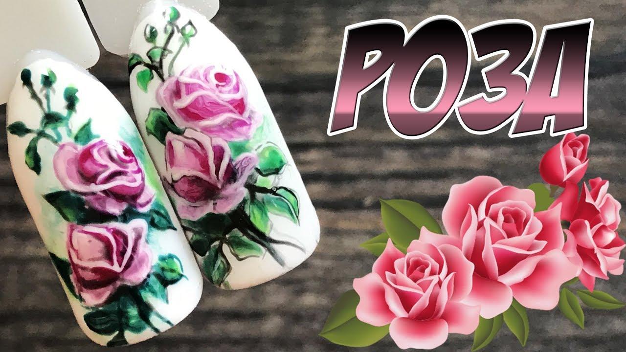 Цветы на ногтях розы фото