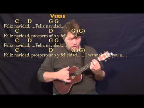 Feliz Navidad - Ukulele Cover Lesson in G with Chords/Lyrics - G C D Em