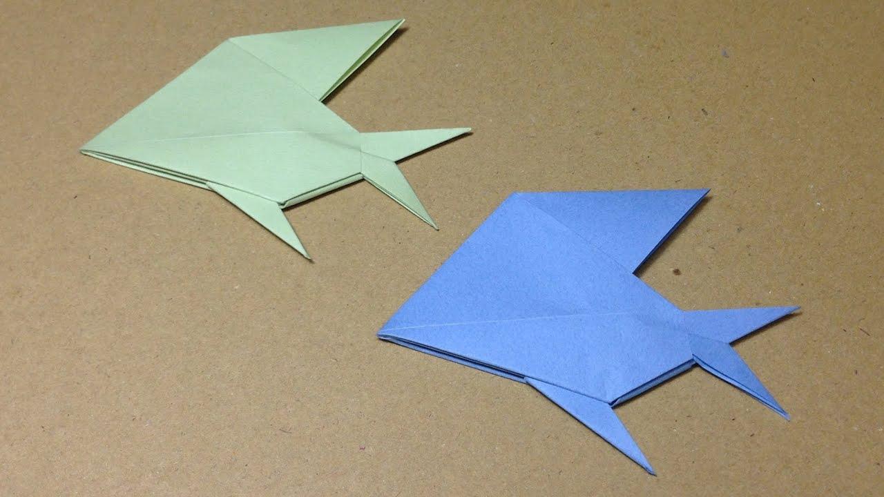 すべての折り紙 折り紙 両面 : How to Make Paper Origami Fish