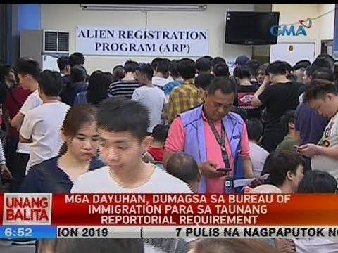 UB: Mga dayuhan, dumagsa sa Bureau of Immigration para sa taunan reportorial requirement