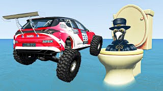 BeamNG Drive - Huge Ramp Jumps Over Plague Doctor In Giant Toilet | Random Cars Crashes Compilation