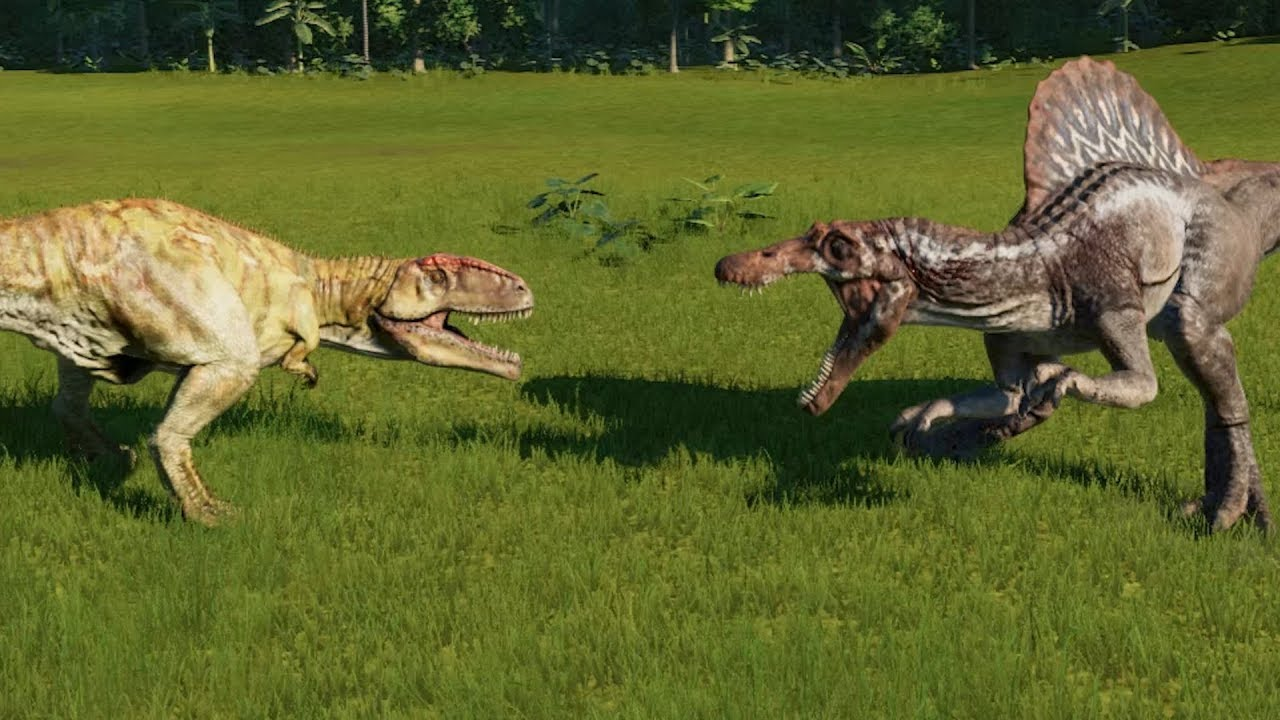 giganotosaurus vs spinosaurus jurassic world evolution