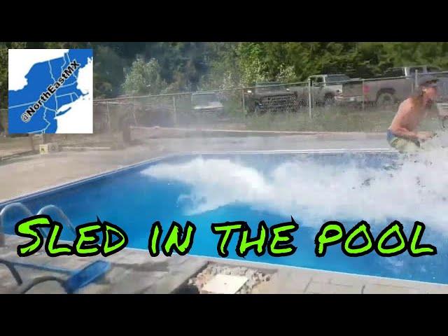 Take1 Snowmobile Over The Pool