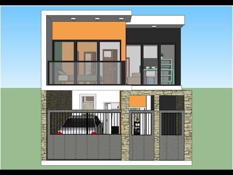 Casa con un terreno de 6x10m dos pisos y fachada moderna for Fachada de casa moderna de un piso