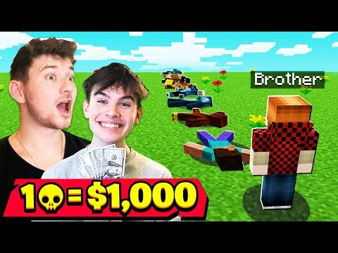 1 Elimination = $1,000 w/ My 9 Year Old Little Brother (Minecraft Hunger Games Challenge)