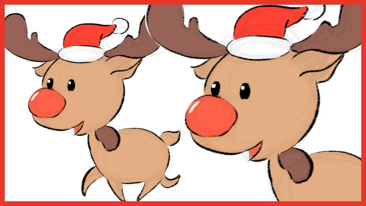Reindeer Christmas Cards Drawings.How To Draw Simple Reindeer For Christmas Card