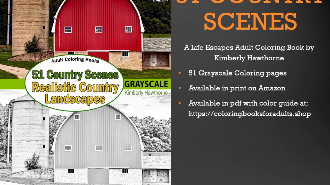 51 Country Scenes Adult Coloring Book Flip Thru