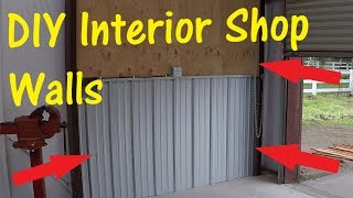 DIY Corrugated Metal And Plywood Interior Walls for Metal Building | Workshop