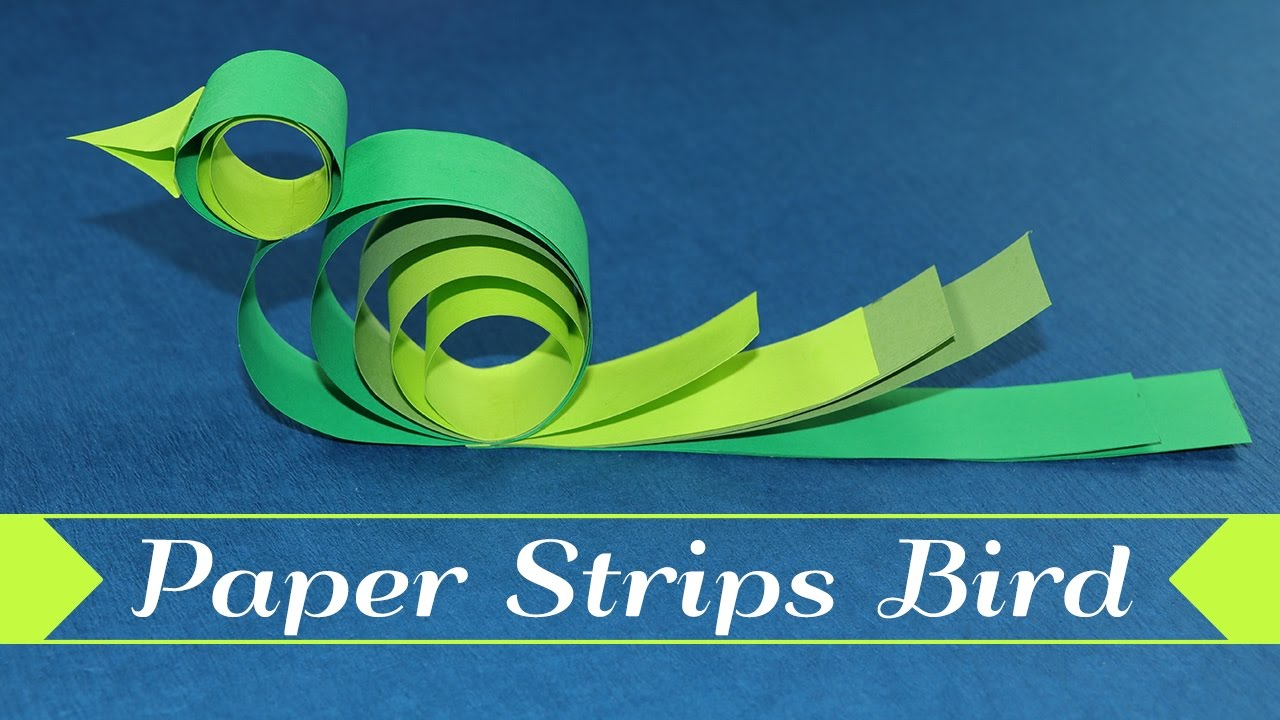 Paper Bird Kids Crafts - How To Make A Bird With Paper Strips - YouTube
