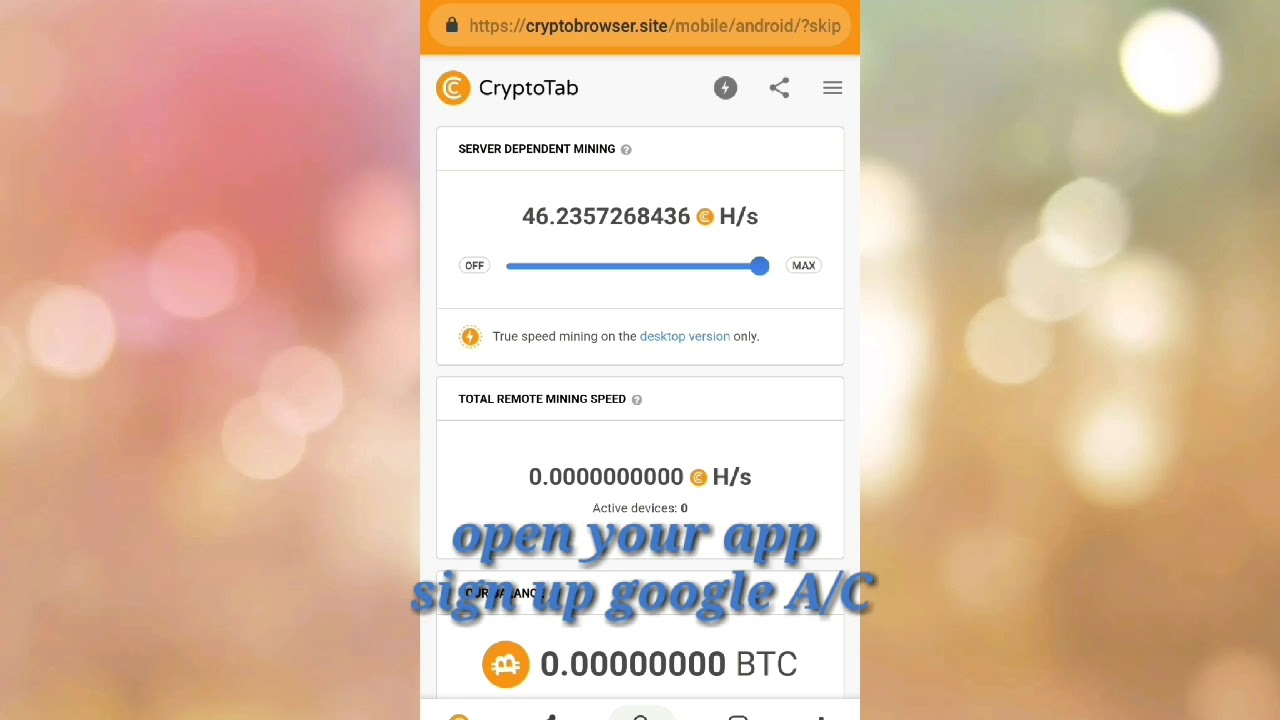Free BitCoin minning with crypto Tab????